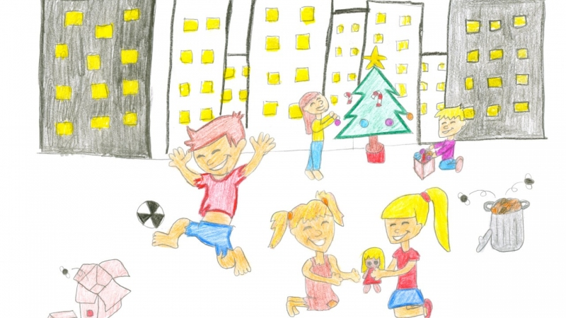 'For an equal and fair world where all children have the right to play', drawing by Claudia Ruíz, 1st prize